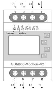 Drehstromzähler SDM630-Modbus-V2 mit Modbus-Schnittstelle am S0-Recorder