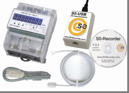 Starter-Set S0-Recorder mit Drehstromzähler und S0-USB-Adapter